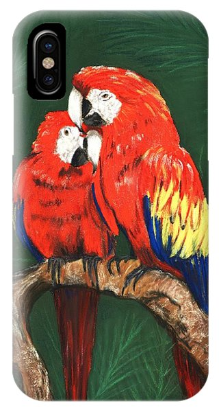 IPhone Case featuring the painting Scarlet Macaws by Anastasiya Malakhova