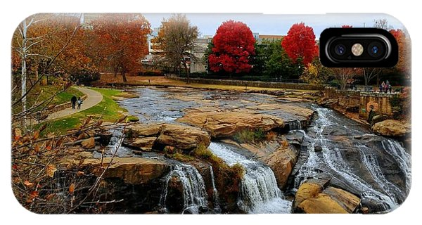 Scene From The Falls Park Bridge In Greenville, Sc IPhone Case