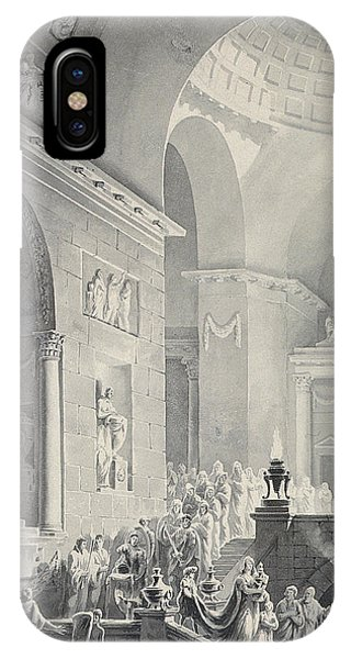 Interior iPhone Case - Scene In A Classical Temple  Funeral Procession Of A Warrior by Joseph Charles Barrow