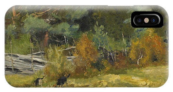 Swedish Painters iPhone Case - Scent Hounds At Fence by Bruno Liljefors