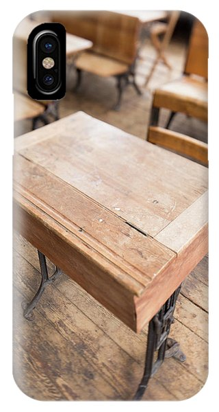 IPhone Case featuring the photograph School Desks In A One Room School Building by Edward Fielding