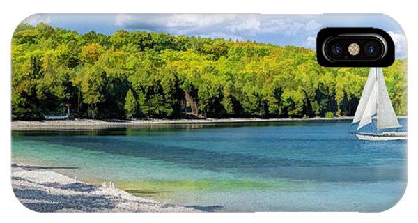 Schoolhouse Beach Panorama On Washington Island Door County IPhone Case