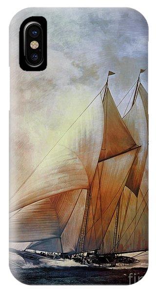 Schooner iPhone Case - Schooner America In 1910.   by Andrzej Szczerski