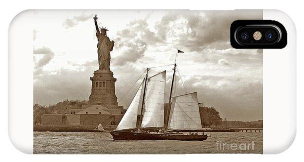 Schooner At Statue Of Liberty Twurl IPhone Case