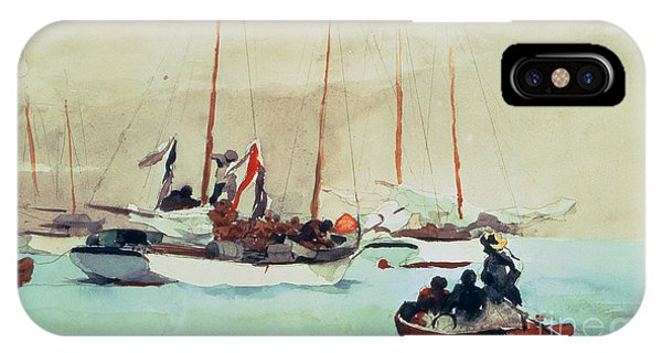 Boats iPhone Case - Schooners At Anchor In Key West by Winslow Homer