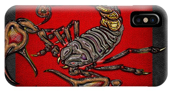 Artwork iPhone Case - Scorpion On Red And Black  by Serge Averbukh