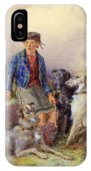 Scottish Boy With Wolfhounds In A Highland Landscape IPhone Case