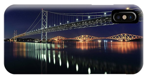 Scottish Steel In Silver And Gold Lights Across The Firth Of Forth At Night IPhone Case