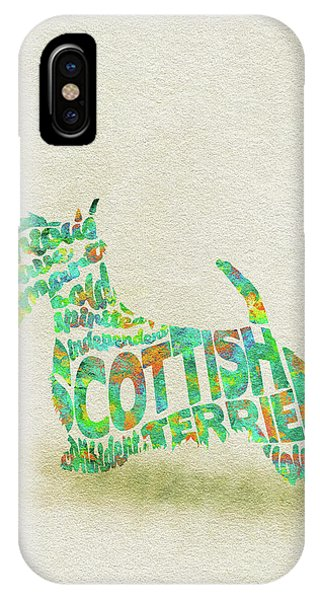 Scottish Terrier Dog Watercolor Painting / Typographic Art IPhone Case