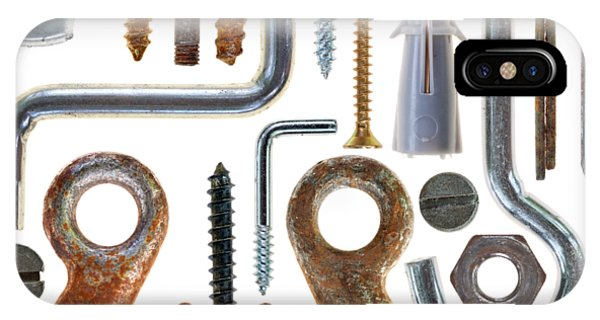 Stainless Steel iPhone Case - Screws, Nut Bolts, Nails And Hooks by Michal Boubin