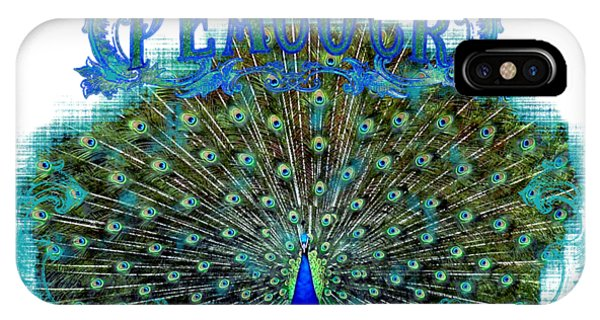 Peafowl iPhone Case - Scroll Swirl Art Deco Nouveau Peacock W Tail Feathers Spread by Audrey Jeanne Roberts