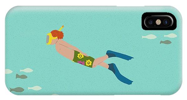 Scuba Diving iPhone Case - Scuba Boy by Nicole Wilson