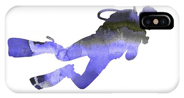 Scuba Diving iPhone Case - Scuba Diver Watercolor Silhouette by Joanna Szmerdt
