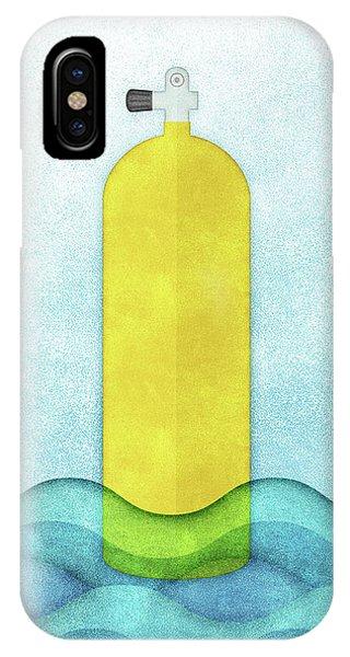 Scuba Diving iPhone Case - Scuba Diving - Yellow Tank On Blue by Flo Karp