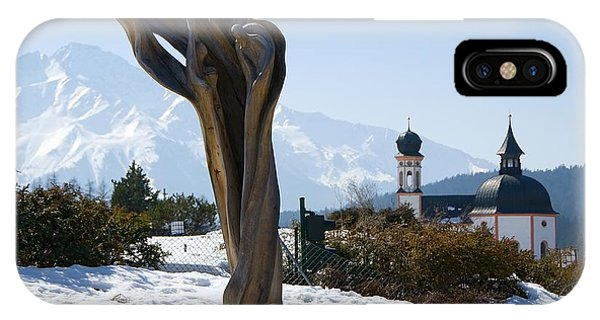 Sculpture And Tyrolean Church In The Background IPhone Case