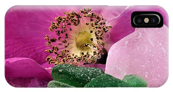 Sea Glass And Beach Rose IPhone Case