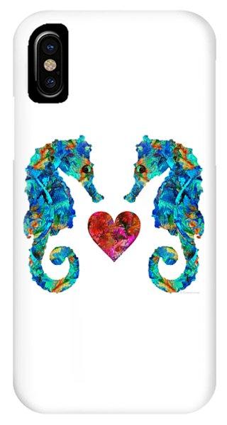 Seahorse iPhone Case - Sea Lovers - Seahorse Beach Art By Sharon Cummings by Sharon Cummings