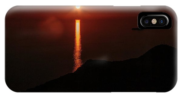 Sea, Mountains, Sunset, Sun Sinking Over The Horizon IPhone Case