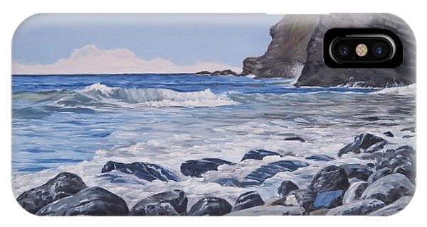 IPhone Case featuring the painting Sea Pounded Stones At Crackington Haven by Lawrence Dyer