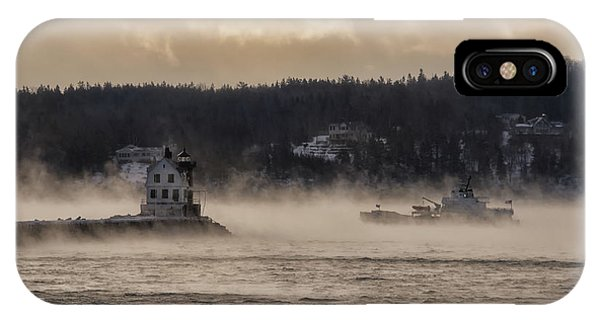 Sea Smoke At Rockland Breakwater Light IPhone Case