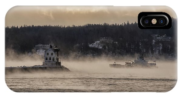 Sea Smoke At Rockland Breakwater Light IPhone Case