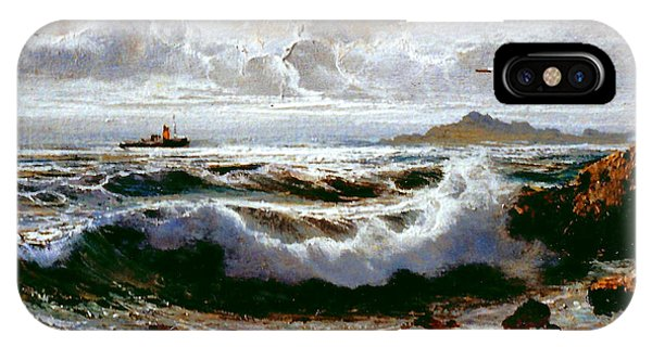 IPhone Case featuring the painting Sea Storm by Rosario Piazza
