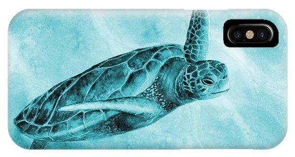 Turtle iPhone X Case - Sea Turtle 2 On Blue by Hailey E Herrera