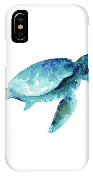 Turtle iPhone X Case - Sea Turtle Abstract Painting by Joanna Szmerdt