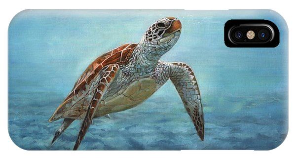 Turtle iPhone X Case - Sea Turtle by David Stribbling