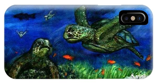 Sea Turtle Rendezvous Phone Case by Tanna Lee M Wells
