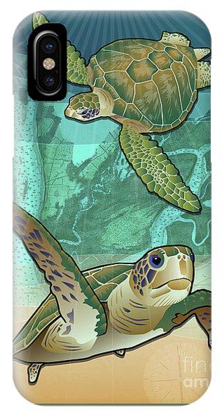 Sea Turtles Near Beaufort, Sc IPhone Case