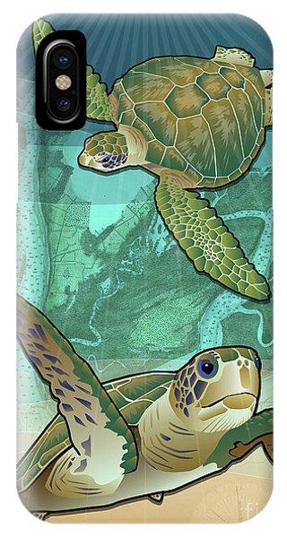 Turtle iPhone X Case - Sea Turtles Near Beaufort, Sc by Joe Barsin