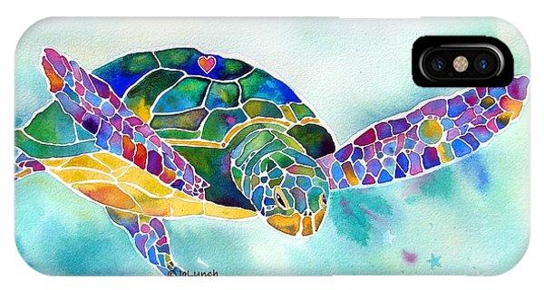 Turtle iPhone X Case - Sea Weed Sea Turtle  by Jo Lynch