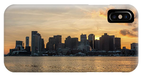 Seagull Flying At Sunset With The Skyline Of Boston On The Backg IPhone Case