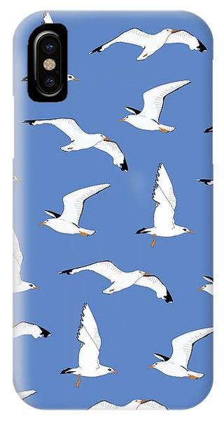 Seagull iPhone Case - Seagulls Gathering At The Cricket by Elizabeth Tuck