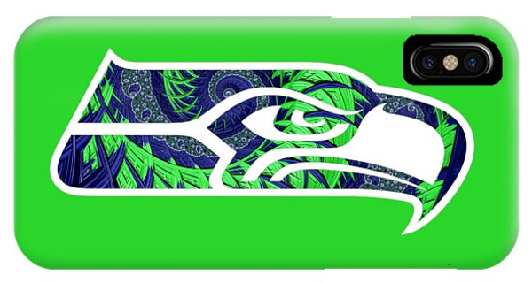 IPhone Case featuring the digital art Seahawks Fractal by Becky Herrera