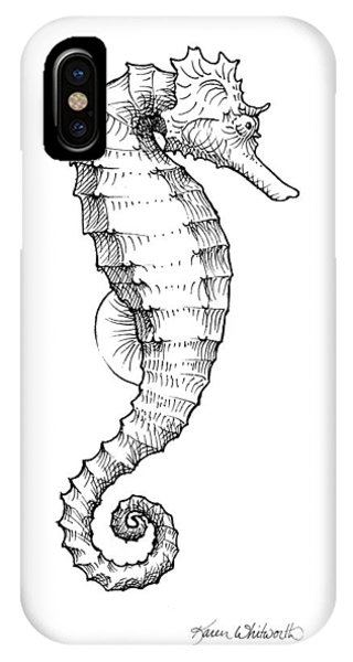 Pacific Ocean iPhone Case - Seahorse Black And White Sketch by Karen Whitworth