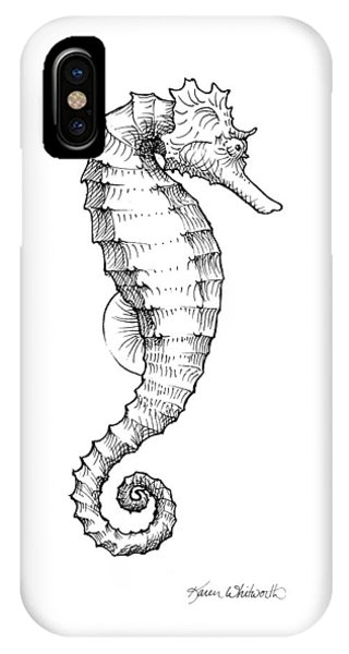 Seahorse iPhone Case - Seahorse Black And White Sketch by Karen Whitworth