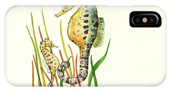 Nautical iPhone Case - Seahorse Mom And Baby by Juan Bosco