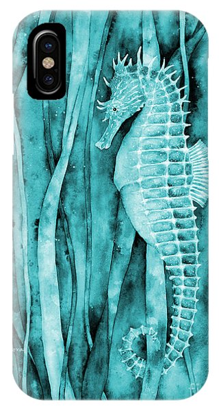 See iPhone Case - Seahorse On Blue by Hailey E Herrera