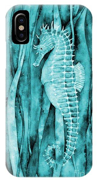 Seahorse iPhone Case - Seahorse On Blue by Hailey E Herrera