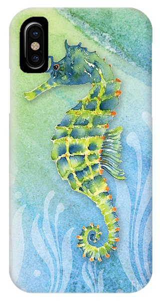Seahorse iPhone Case - Seahorse Blue Green by Amy Kirkpatrick