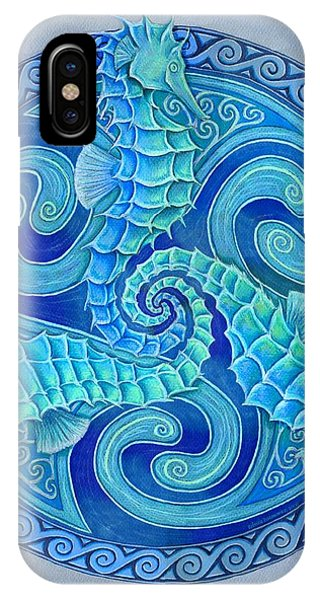 Seahorse iPhone Case - Seahorse Triskele by Rebecca Wang