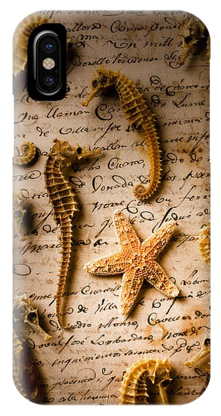 Seahorse iPhone Case - Seahorses And Starfish On Old Letter by Garry Gay