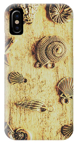 Pendant iPhone Case - Seashell Shaped Pendants On Wooden Background by Jorgo Photography - Wall Art Gallery