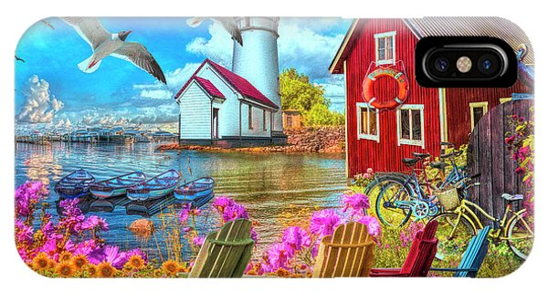 iPhone Case - Seaside Invitation At The Harbor Painting by Debra and Dave Vanderlaan