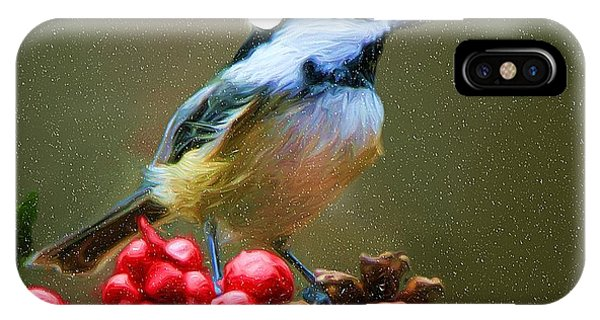 Seasons Greetings Chickadee IPhone Case