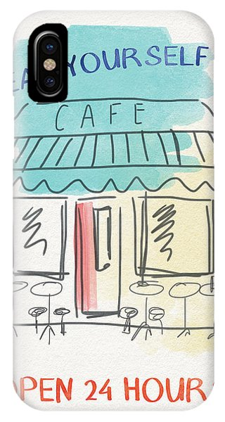 Cafe iPhone Case - Seat Yourself Cafe- Art By Linda Woods by Linda Woods