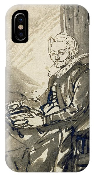 Baroque iPhone Case - Seated Woman With An Open Book On Her Lap by Rembrandt