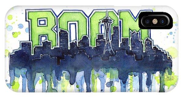 Downtown Seattle iPhone Case - Seattle 12th Man Legion Of Boom Watercolor by Olga Shvartsur